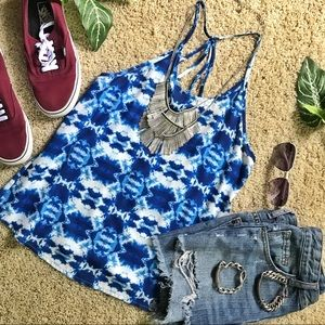 Bright Blue Patterned Tank Top 🌿